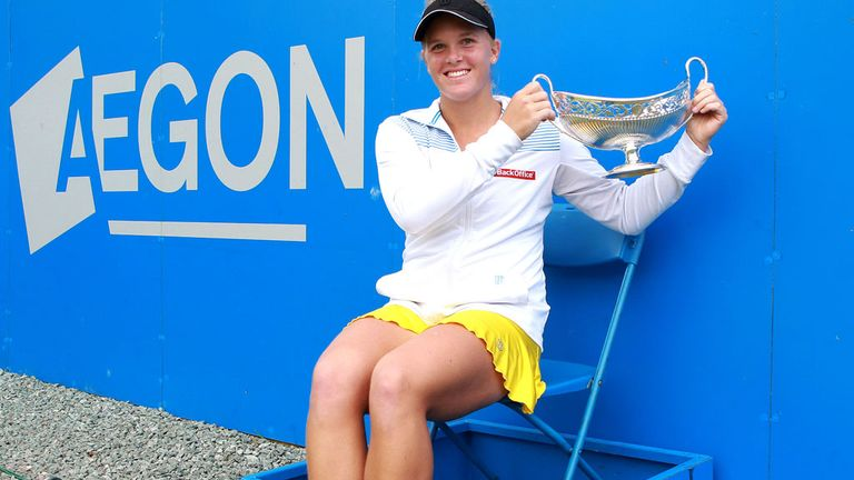 American Melanie Oudin with the spoils of victory last June.