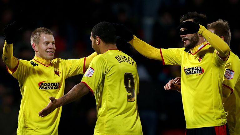 Matej Vydra (l): Celebrates at Vicarage Road