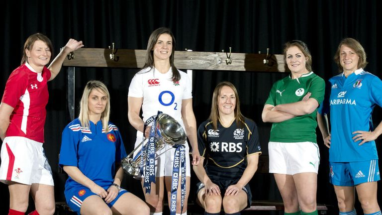 Women's Six Nations captains (from L-R) Rachel Taylor, Marie-Alice Yahe, Sarah Hunter, Susie Brown, Fiona Coghlan, Silvia Gaudino