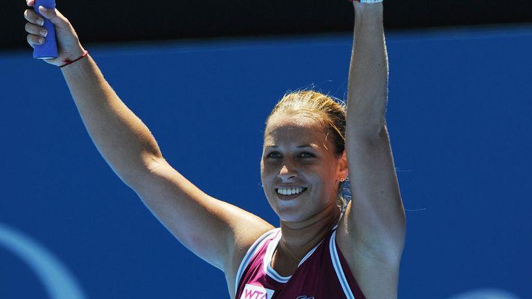 Dominika Cibulkova celebrates her victory over Petra Kvitova