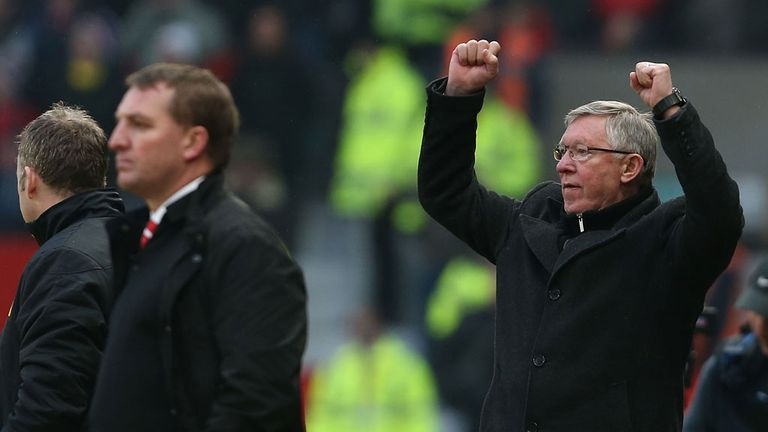 Sir Alex Ferguson: Celebrates after Manchester United overcame Liverpool 2-1