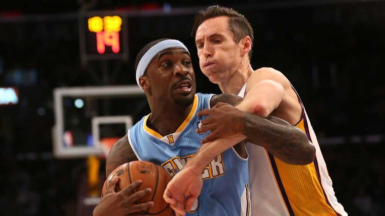 Ty Lawson: Another big game for the Nuggets point guard, here battling with Steve Nash of the Lakers