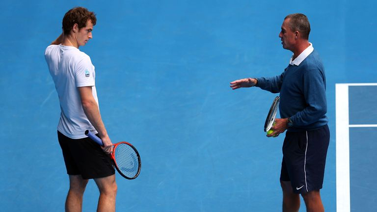 Andy Murray is put through his paces by coach Ivan Lendl on the eve of the final