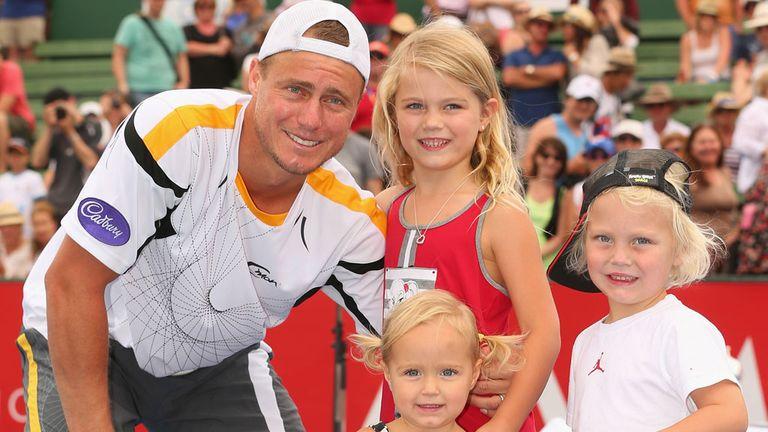 Lleyton Hewitt celebrates with his kids