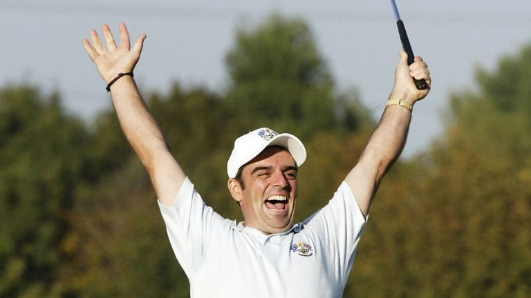 Paul McGinley in Ryder Cup action in 2002