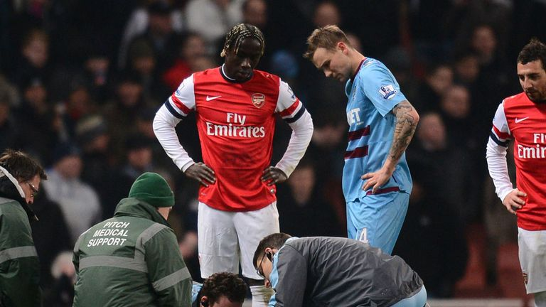 Dan Potts: Knocked unconscious after clash with Arsenal's Bacary Sagna