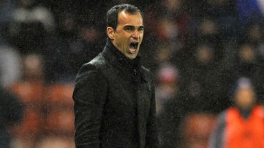 Roberto Martinez: Wigan boss roars encouragement in the 2-2 draw at Stoke