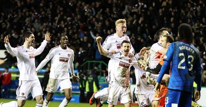 Hearts: Celebrate after Phillip Roberts missed his penalty