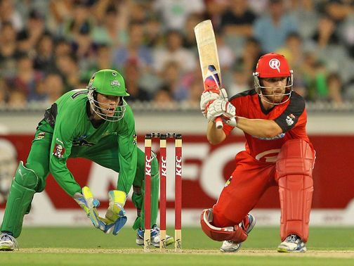 Aaron Finch: his unbeaten 67 helped the Renegades beat the Stars on Sunday