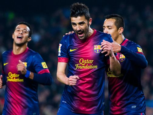 David Villa was twice on target for Barca
