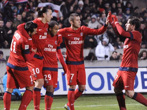 PSG celebrate Zlatan Ibrahimovic's winner.