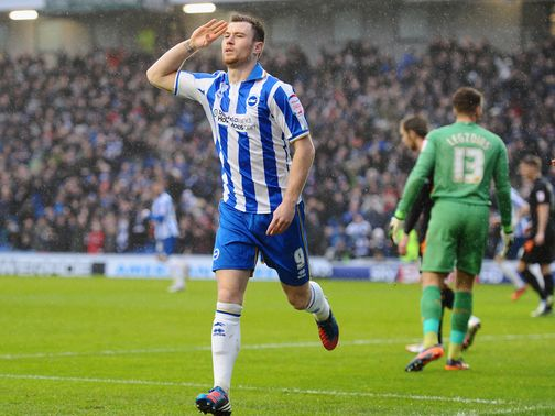 Ashley Barnes celebrates for Brighton