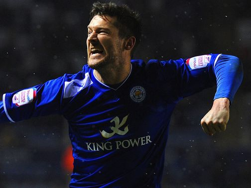 David Nugent celebrates his goal for Leicester