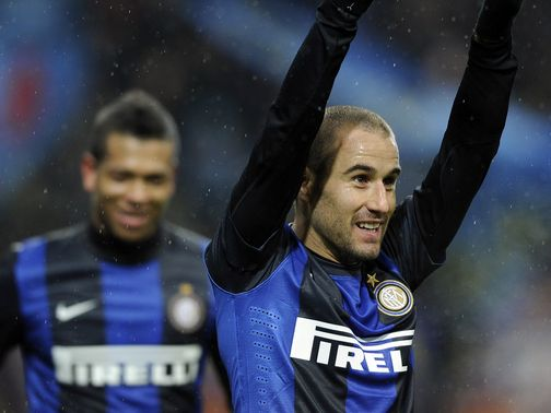 Rodrigo Palacio celebrates for Inter Milan