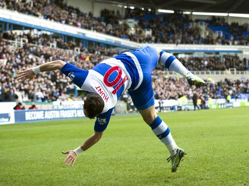 Noel Hunt celebrates at the Madejski