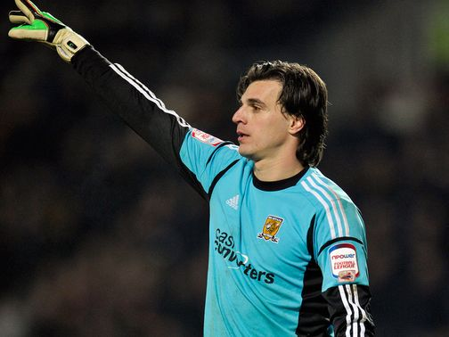 Eldin Jakupovic: Carried off at the KC Stadium