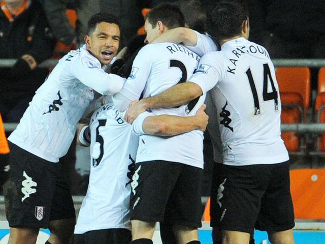 Fulham celebrate Brede Hangeland's extra-time goal