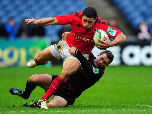 Doug Howlett in action for Munster on Sunday