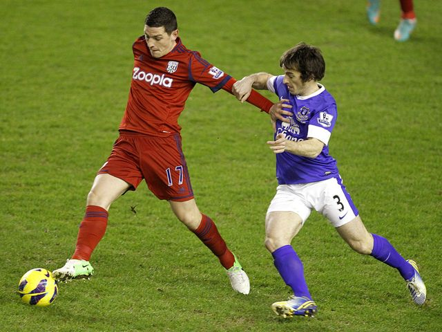 Graham Dorrans tries to hold off Leighton Baines