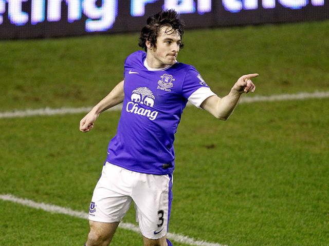 Two-goal Leighton Baines celebrates