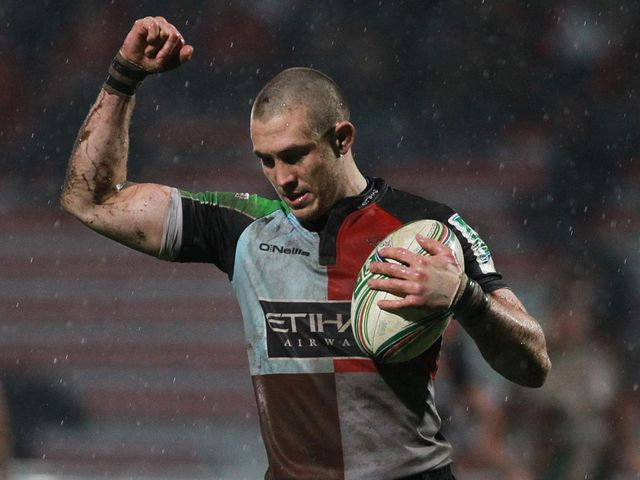 Mike Brown celebrates for Harlequins