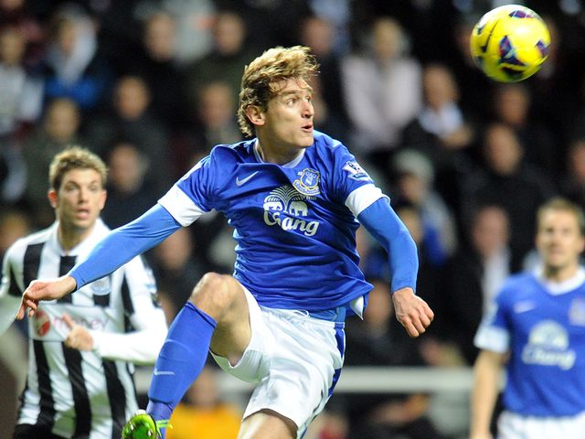 Nikica Jelavic is focused on the ball