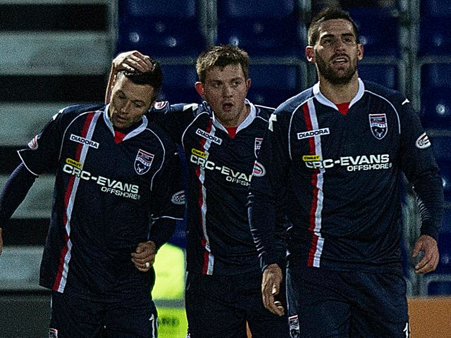 Ivan Sproule is congratulated after his goal
