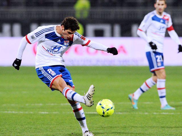 Yoann Gourcuff has a shot at goal for Lyon