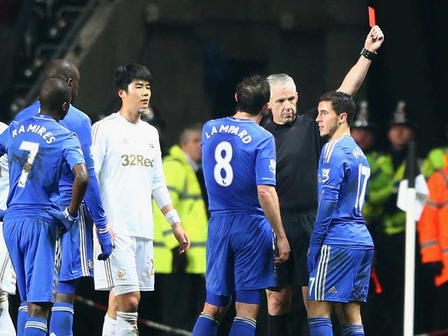 Eden Hazard: Sent off as Chelsea crashed out the League Cup