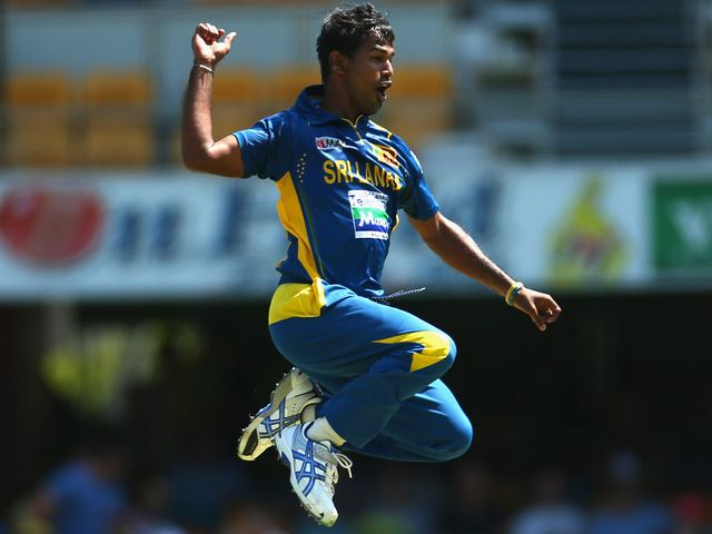 Jumping for joy: Nuwan Kulasekara took five Australia wickets