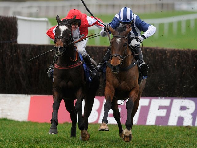 Monbeg Dude (l): Tackles Teaforthree at the last