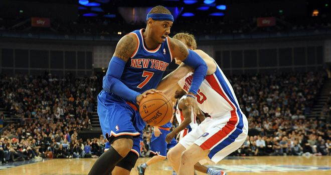 Carmelo Anthony in action at the 02