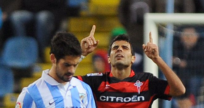 Augusto Fernandez celebrates his goal for Celta Vigo