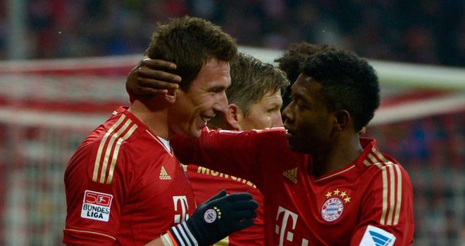 Mario Mandzukic (left): Scored twice in Bayern win
