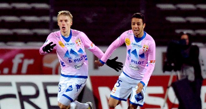 Evian's Daniel Wass celebrates his equaliser