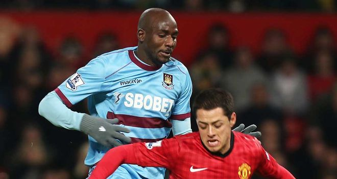 Alou Diarra in action during the recent FA Cup tie against Manchester United
