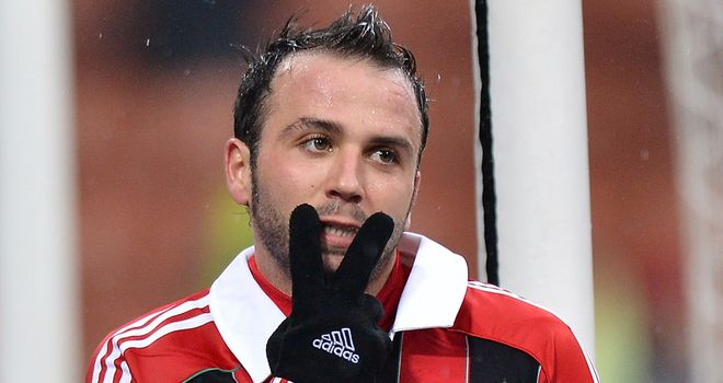 Two-goal Giampaolo Pazzini celebrates