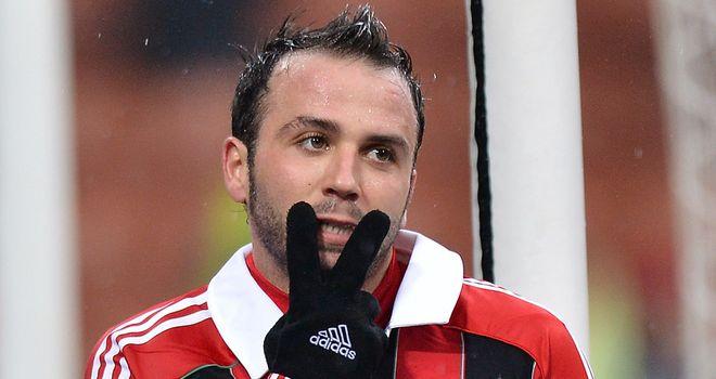 Two-goal Giampaolo Pazzini celebrates