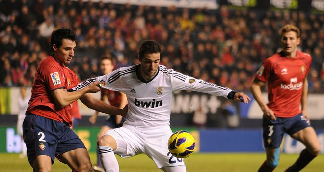 Real Madrid's Gonzalo Higuain holds the ball up