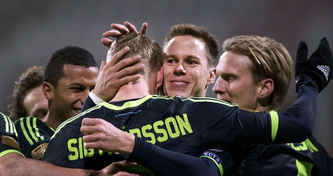 Kolbeinn Sigthorsson celebrates his goal for Ajax