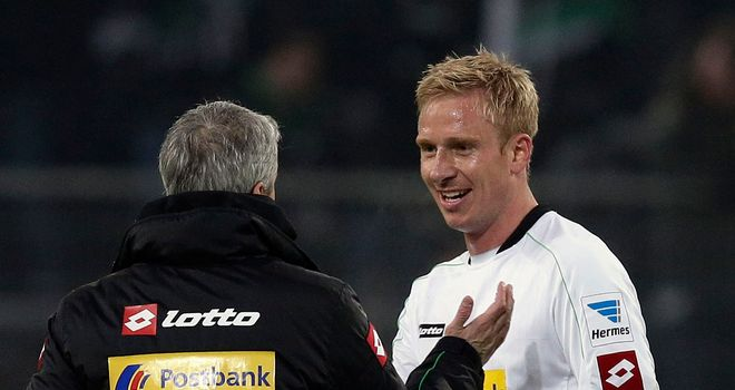 Mike Hanke celebrates at the full-time whistle