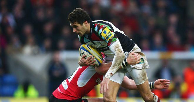 Ollie Lindsay Hague: Makes a break for Harlequins against London Welsh
