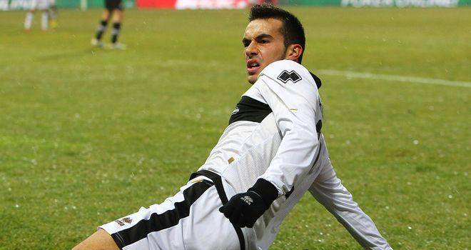 Nicola Sansone celebrates his goal for Parma