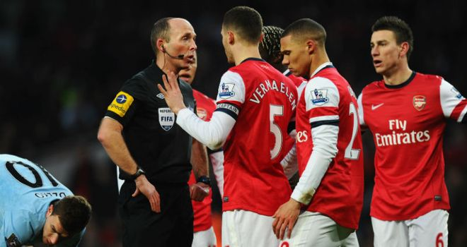 Mike Dean was at the centre of the action but Arsenal were second best all afternoon