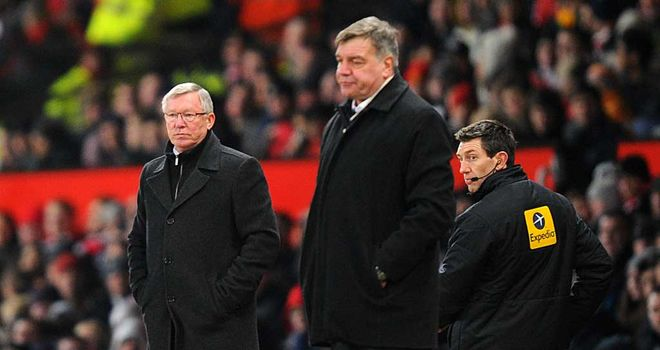 Sam Allardyce: West Ham boss on the touchline at Old Trafford