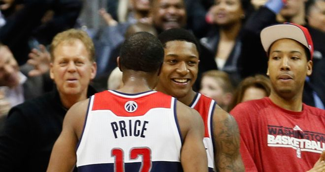 Late victory: A.J. Price celebrates with Bradley Beal of the Washington Wizards after Beal hit the game-winning shot against Oklahoma City Thunder