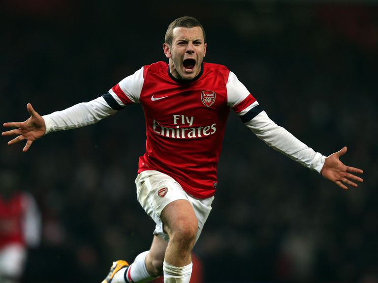 Jack WIlshere celebrates his late winner for Arsenal
