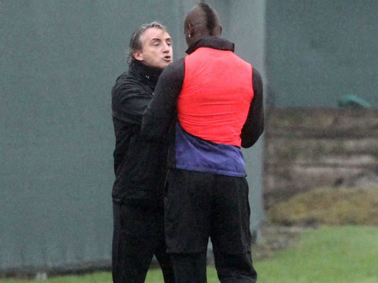 Mancini and Balotelli square up at training on Thursday