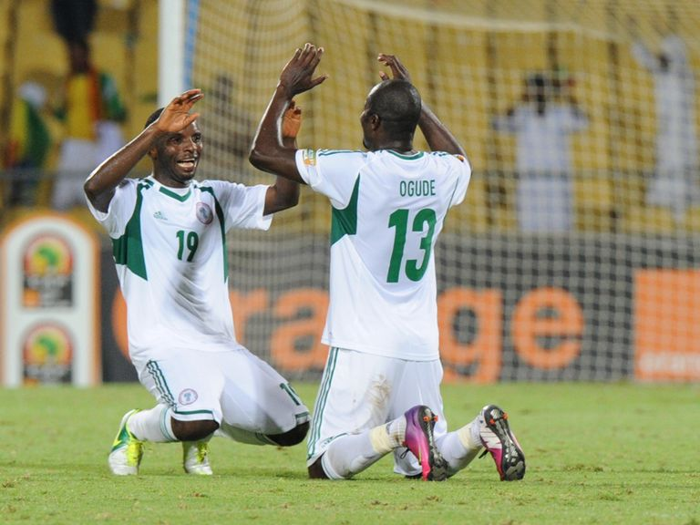 Nigeria celebrate their victory over Ethiopia