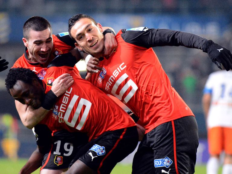 Rennes celebrate against Montpellier